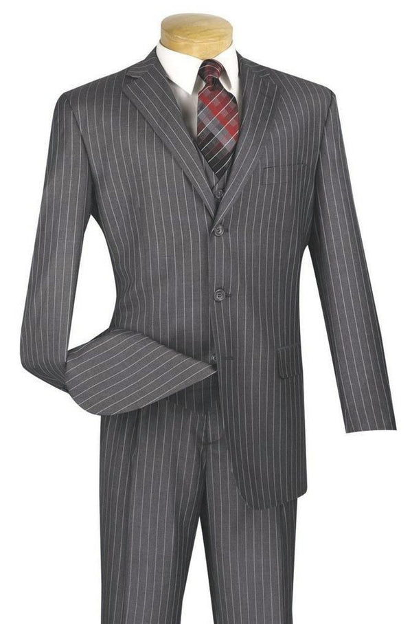MEDIUM GRAY CLASSIC FIT MEN'S SUITS WITH VEST 3 PIECE 3 BUTTONS BANKER STRIPE