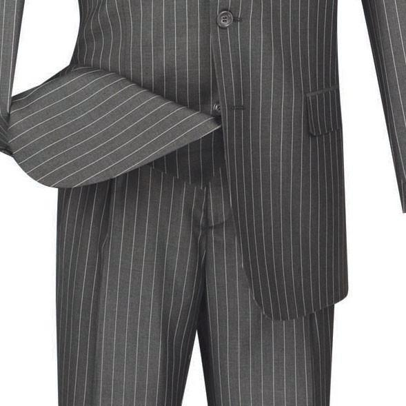 Portofino Collection - Regular Fit 3 Piece 3 Button Banker Stripe in Medium Gray - SUITS FOR MENS
