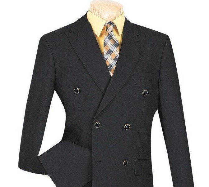 BLACK CASUAL JACKET MEN'S CLASSIC FIT BLAZER DOUBLE BREASTED DESIGN