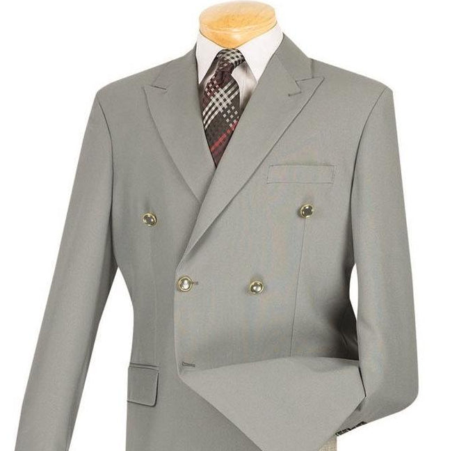 Men's Regular Fit Double Breasted Blazer in Gray - SUITS FOR MENS