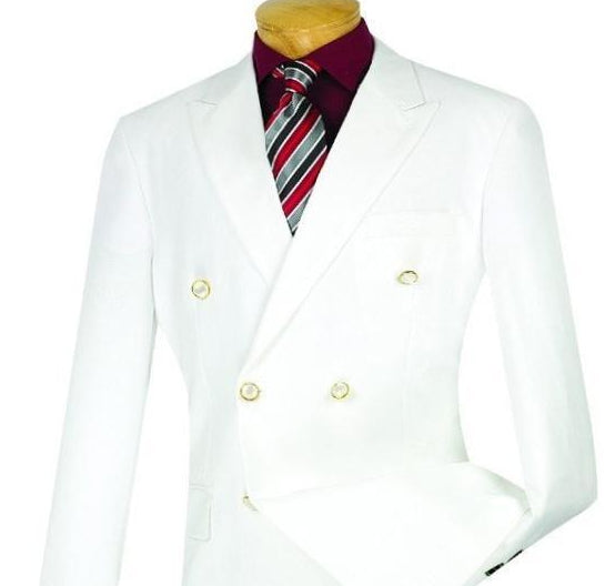 WHITE CASUAL JACKET MEN'S CLASSIC FIT BLAZER DOUBLE BREASTED DESIGN