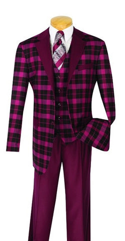 Burgundy Men's Fashion Suit Regular Fit 3 Piece With Vest - SUITS FOR MENS