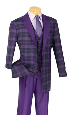 PURPLE MEN'S FASHION SUITS CLASSIC FIT WITH VEST NEW