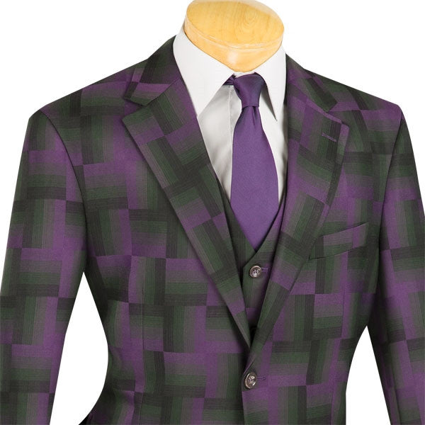 PURPLE FASHION SUITS CLASSIC-FIT WITH VEST NEW WITH TAG