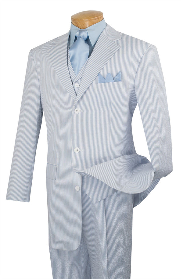 BABY BLUE MEN'S FASHION SUITS 3 PCS CLASSIC FIT SUITS VEST PANTS