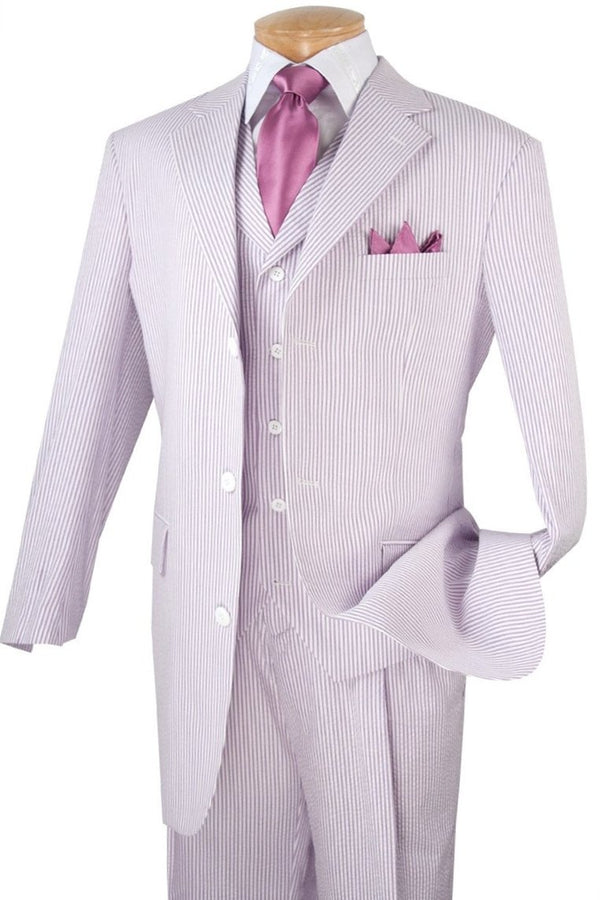 LAVENDER MEN'S FASHION SUITS 3 PCS CLASSIC FIT SUITS VEST PANTS
