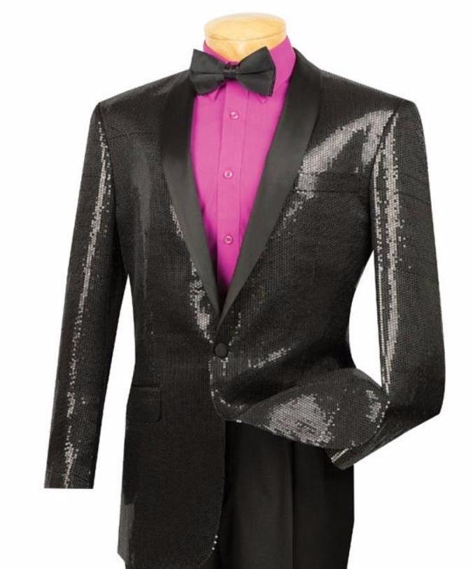 MEN'S FASHION SUITS CLASSIC FIT BLACK SEQUINS STAGE JACKET