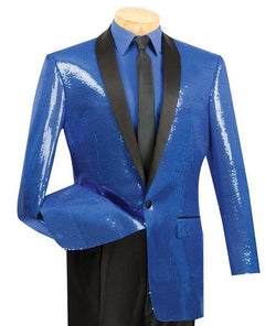 Spotlight Collection - Regular Fit Blue Sequins Party Jacket - SUITS FOR MENS