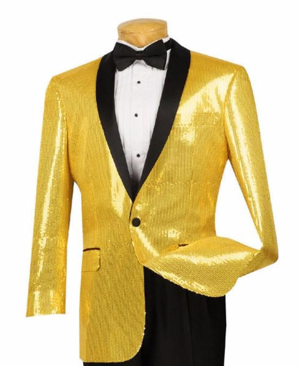 Spotlight Collection - Regular Fit Gold Sequins Party Jacket