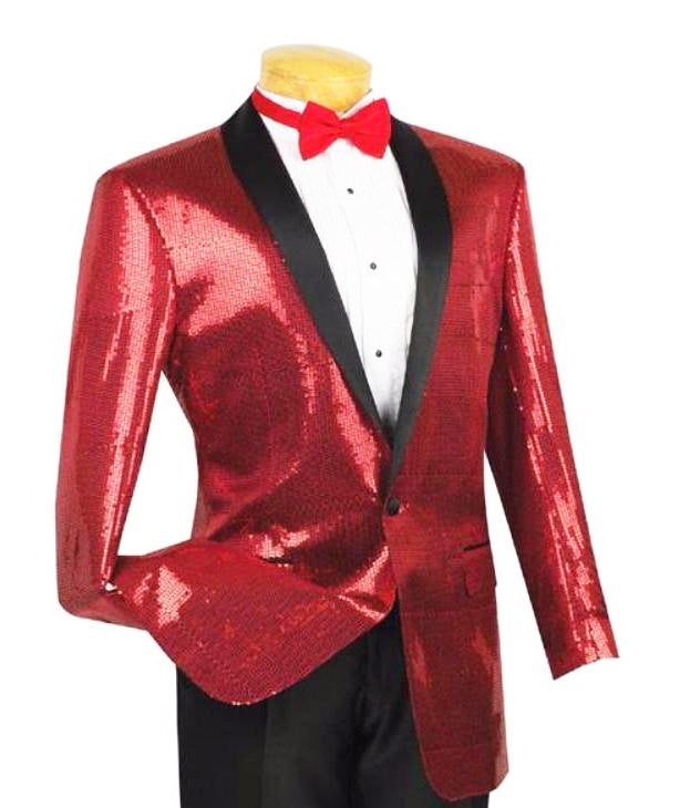 Spotlight Collection - Regular Fit Red Sequins Party Jacket