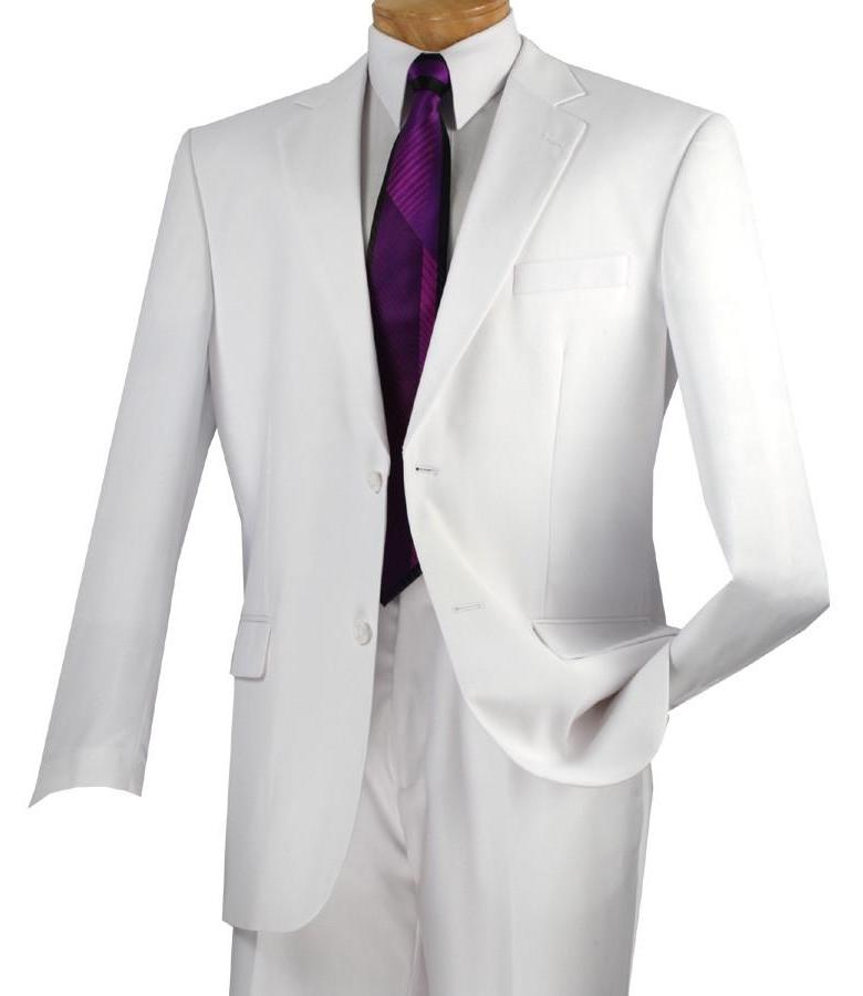 MEN'S CLASSIC SUITS 2 BUTTONS DESIGN SOLID COLOR WHITE
