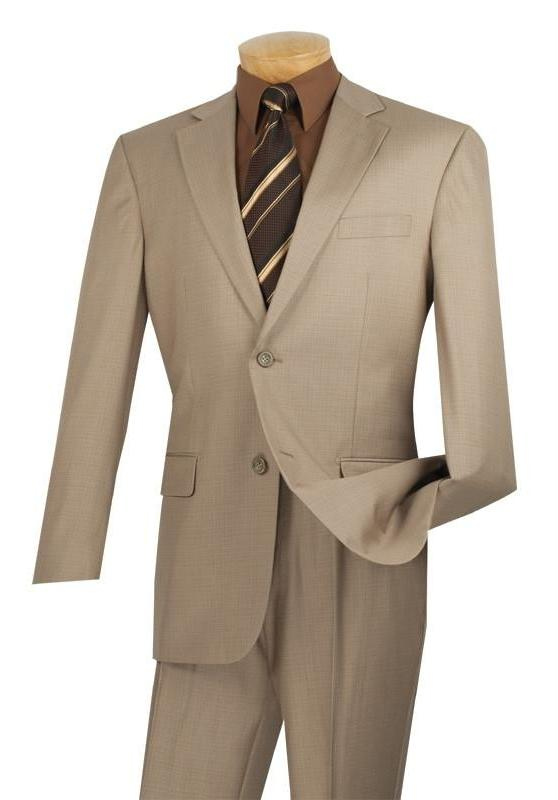 Monte Carlo Collection - Dress Suit 2 Piece 2 Button Textured Weave In Beige - SUITS FOR MENS