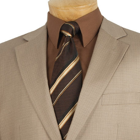 MEN'S CLASSIC FIT VINCI SUITS 2 BUTTONS DESIGN TEXTURED WEAVE IN BEIGE NEW