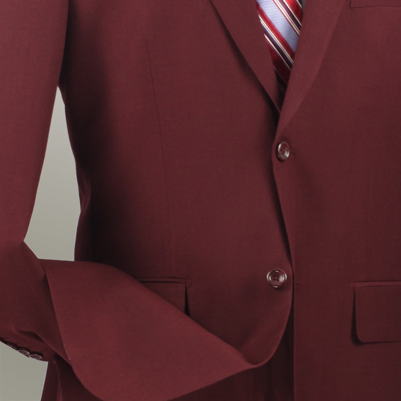 VINCI MEN'S CLASSIC SUITS 2 BUTTONS DESIGN TEXTURED WEAVE IN BURGUNDY