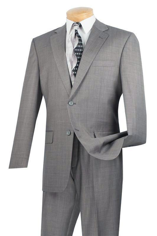 MEN'S CLASSIC SUITS 2 BUTTONS DESIGN TEXTURED WEAVE IN GRAY NEW