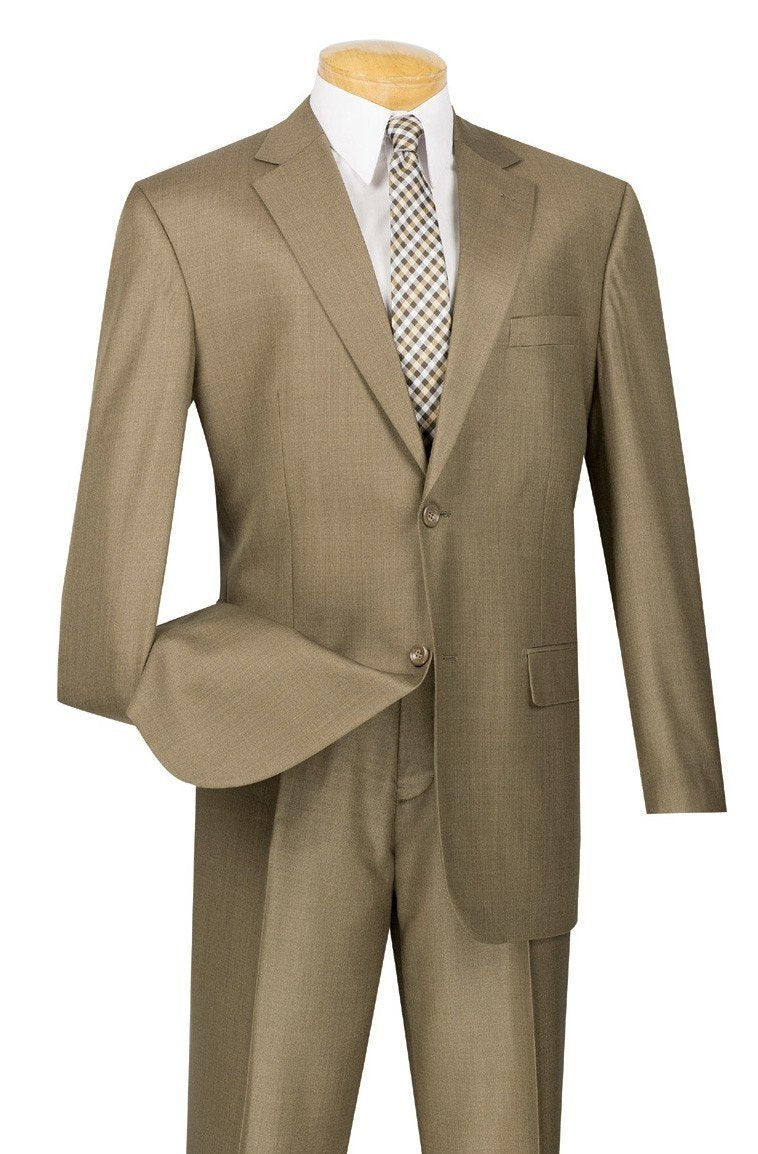 MEN'S CLASSIC SUITS 2 BUTTONS DESIGN TEXTURED WEAVE IN TAUPE NEW