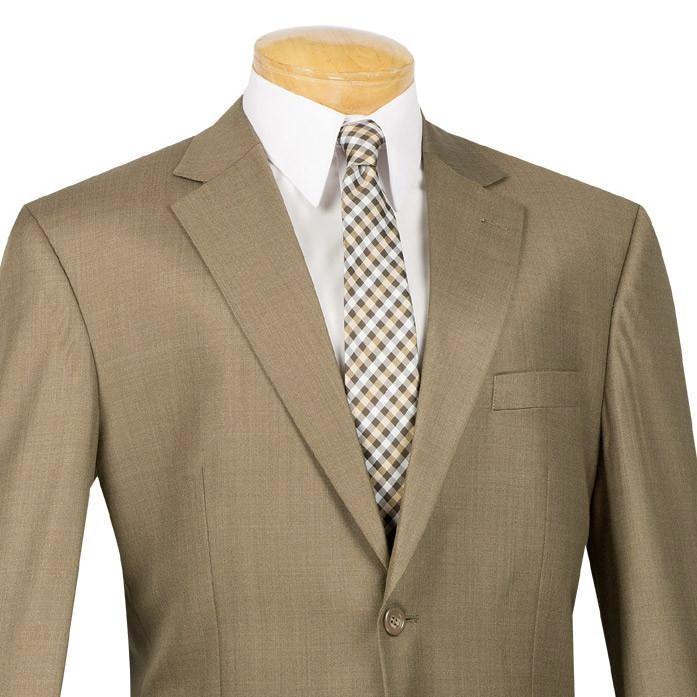 Monte Carlo Collection - Regular Fit 2 Piece 2 Button Textured Weave In Taupe - SUITS FOR MENS