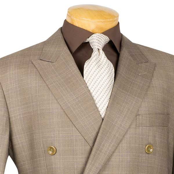Alexander Collection - Tan Double Breasted 2 Piece Suit Regular Fit Glen Plaid - SUITS FOR MENS