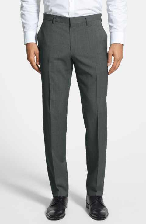 Charcoal Slim Fit Dress Pants Flat Front Pre-hemmed - SUITS FOR MENS