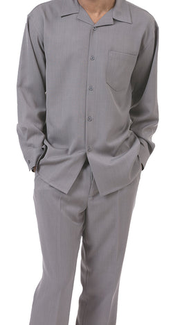 Men's 2 Piece Long Sleeve Walking Suit in Gray - SUITS FOR MENS