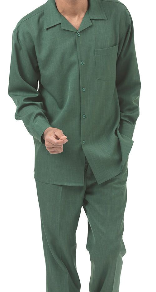 Men's 2 Piece Long Sleeve Walking Suit in Hunter Green - SUITS FOR MENS