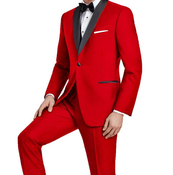 Red Slim Fit Tuxedo With Satin Shawl Lapel 2 Pieces - Mens Suits