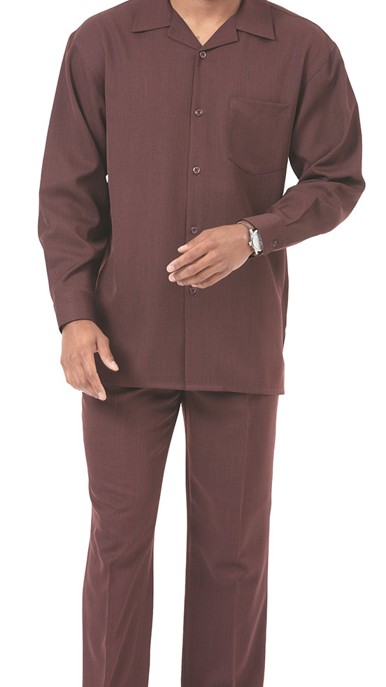 Men's 2 Piece Long Sleeve Walking Suit in Brown - SUITS FOR MENS