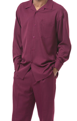 Men's 2 Piece Long Sleeve Walking Suit in Burgundy - SUITS FOR MENS