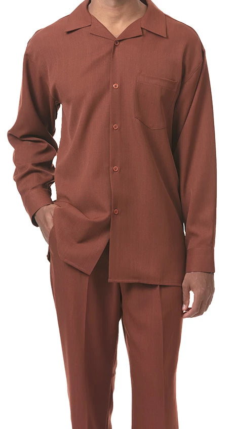 Men's 2 Piece Long Sleeve Walking Suit in Cognac - SUITS FOR MENS