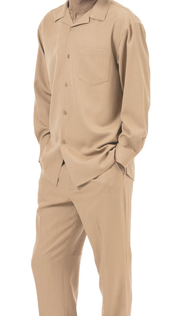 Men's 2 Piece Long Sleeve Walking Suit in Tan - SUITS FOR MENS