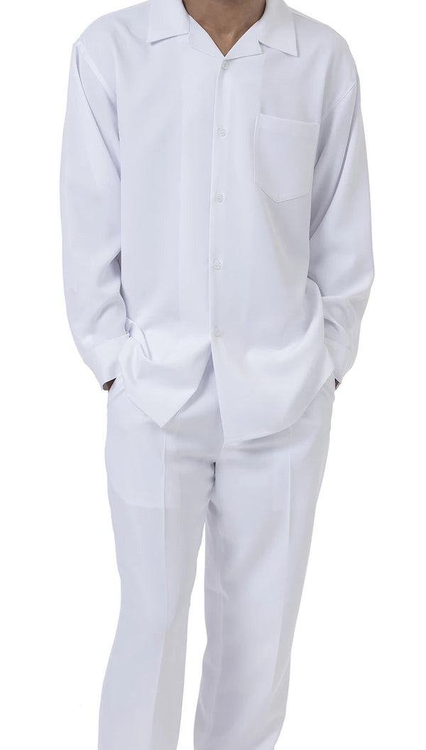 Men's 2 Piece Long Sleeve Walking Suit in White - SUITS FOR MENS