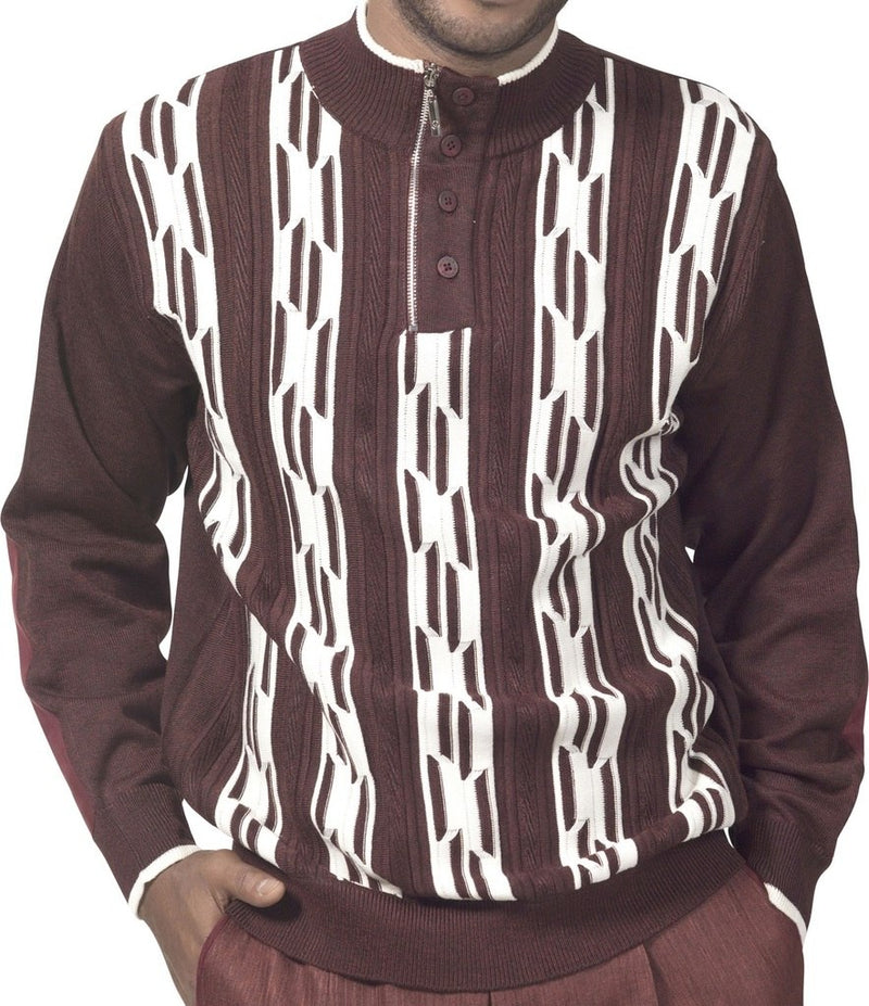 Men's Plaid Quarter Zip Sweater Shrinkage and Wrinkles Resistant in Chestnut - SUITS FOR MENS