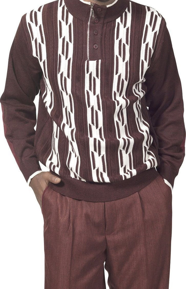 2 Piece Sweater Set Walking Suit Stripes with Pleated Pants in Chestnut - SUITS FOR MENS