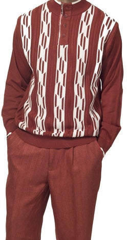 2 Piece Sweater Set Walking Suit Stripes with Pleated Pants in Spice - SUITS FOR MENS