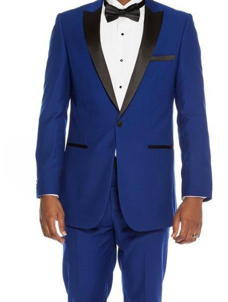 Slim Fit Blue 2 Piece Tuxedo With Satin Peak Lapel - SUITS FOR MENS