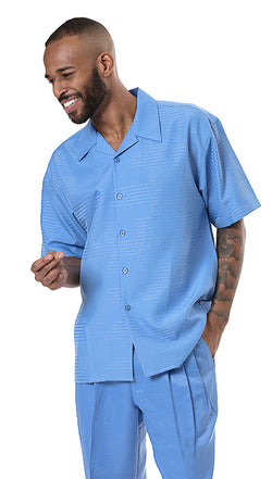 Men's 2 Piece Walking Suit in Carolina Blue - SUITS FOR MENS