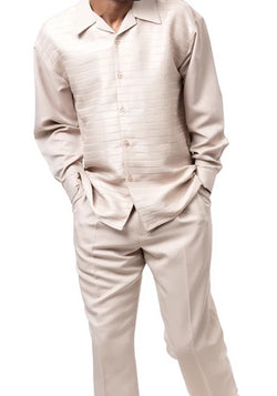 2 Piece Long Sleeve Walking Suit Stripe Pattern in Beige - SUITS FOR MENS