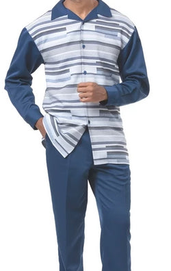 2 Piece Long Sleeve Stripe Walking Suit in Navy - SUITS FOR MENS