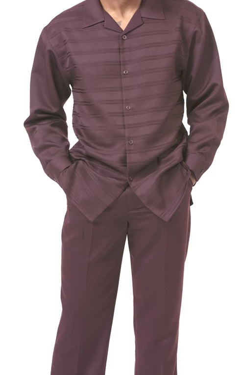 2 Piece Long Sleeve Walking Suit Tone on Tone Stripe in Brown - SUITS FOR MENS