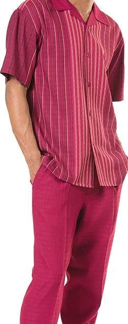 Men's 2 Piece Walking Suit Striped Details in Burgundy - SUITS FOR MENS