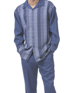 Long Sleeve Stripe 2 Piece Walking Suit in Navy - SUITS FOR MENS