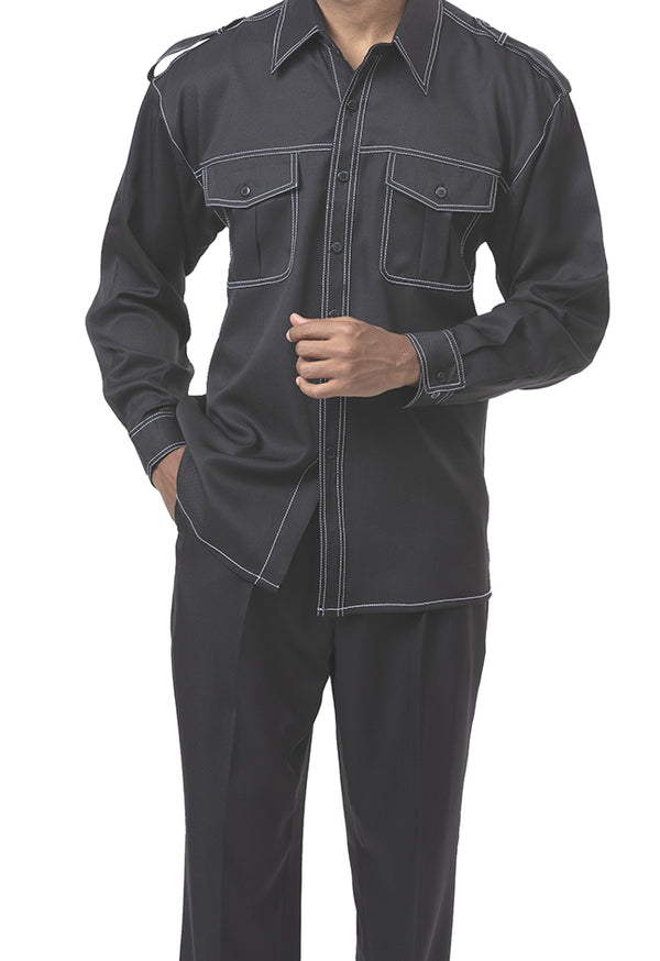 Black 2 Piece Long Sleeve Walking Suit - SUITS FOR MENS