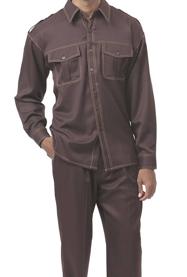 Brown 2 Piece Long Sleeve Walking Suit - SUITS FOR MENS