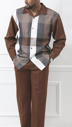 Windowpane 2 Piece Long Sleeve Walking Suit in Cognac - SUITS FOR MENS