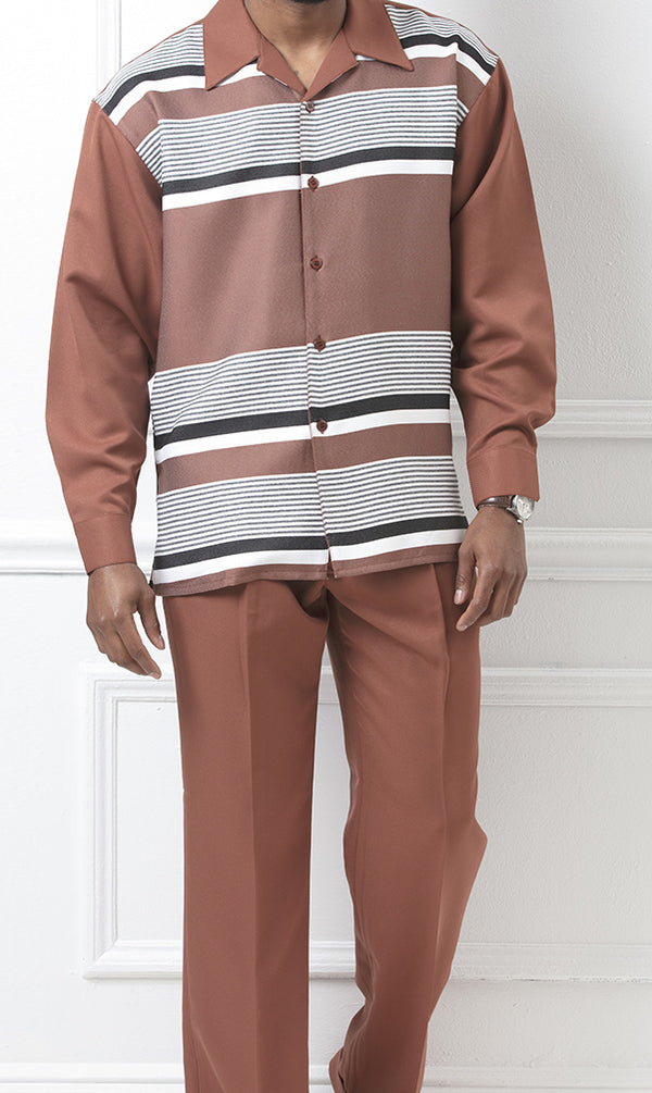 Stripe Pattern 2 Piece Long Sleeve Walking Suit in Coffee - SUITS FOR MENS