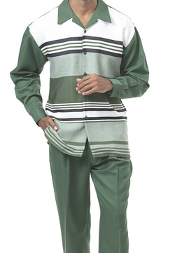 2 Piece Long Sleeve Stripe Walking Suit in Green - SUITS FOR MENS
