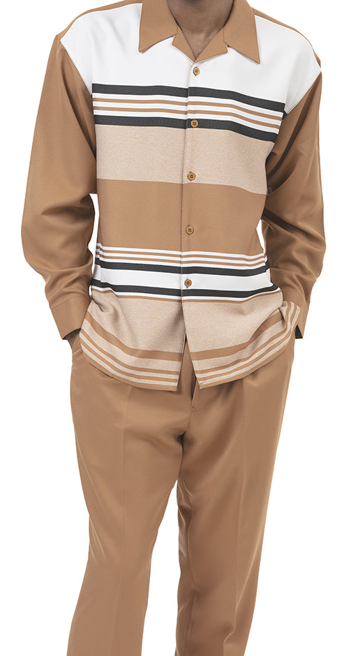 2 Piece Long Sleeve Stripe Walking Suit in Tan - SUITS FOR MENS