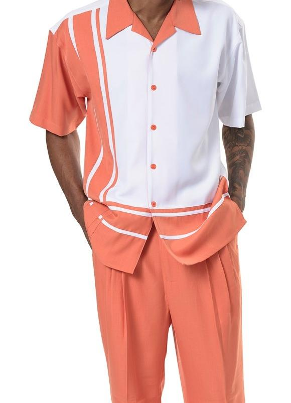 Men's 2 Piece Walking Suit Contrast Stripe Pattern in Coral