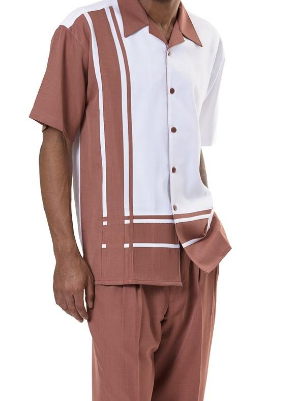 Men's 2 Piece Walking Suit Contrast Stripe Pattern in Cinnamon