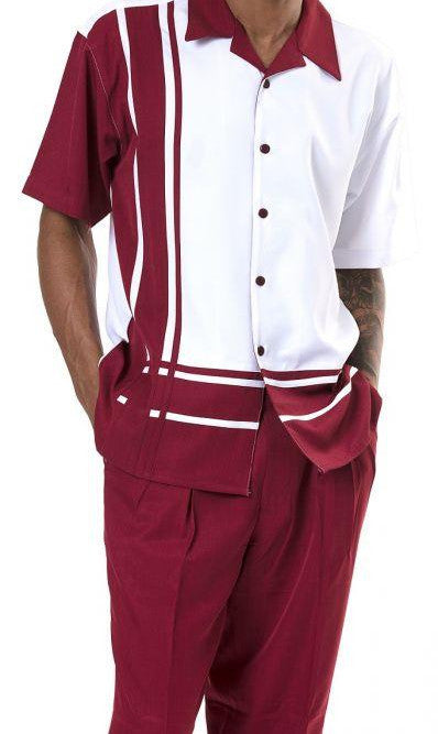 Men's 2 Piece Walking Suit Contrast Stripe Pattern in Burgundy